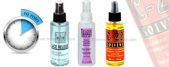 Hairpiece and tape adhesive hair extension removers and solvents