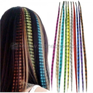 Synthetic Grizzly Feather I-Tip Hair Extensions