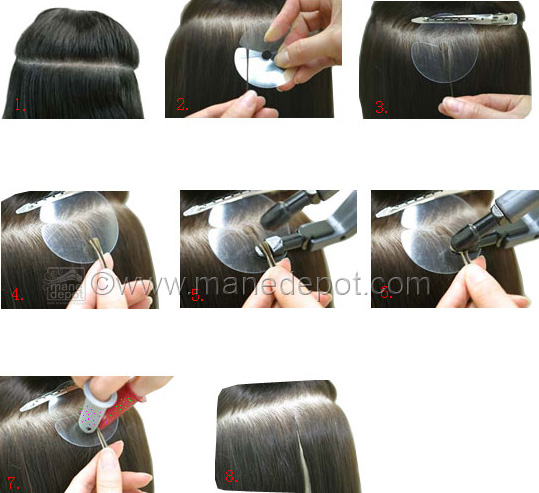 Hair template for attaching hair extensions manedepot demonstration on how to use a hair template to install strand hair extensions pmusecretfo Choice Image